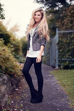 Professional-Heather grey blazer, white top, black skinnies, black booties