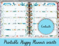 Address Book Printable Pages Contacts Insert por ThreeWithATwist