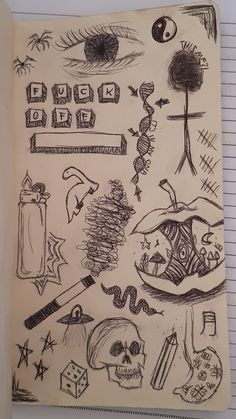 Indie Drawings, Sketchbook Drawings, Art Drawings Sketches Simple, Doodle Drawings, Doodle Art, Arte Grunge, Grunge Art, Trash Art, Art Diary