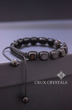 Onyx Cube Men's Black Onyx Beaded Bracelet Energy