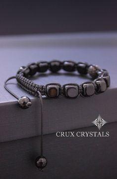 Onyx Cube Men's Shamballa Beaded Bracelet Natural by CruxCrystals