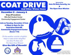 Come out and join us on Tuesday, December 2 on the campus of UNO at the Community Engagement Center (Rm. 118) at 6:30pm as we kick-off our WINTER COAT DRIVE. Bring in your gently used winter coats and other winter items (hats, scarves, gloves, etc.) Sorors of Nebraska are making lives better in their communities.  Coat drop-off boxes will be located in the Milo Bail Student Center and the Community Engagement Center from Dec. 2 to Jan 6.