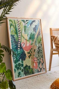 Ambers textiles jungle sloth art print art jungle art, prints и wall art . Jungle Art, Jungle Room, Jungle Bathroom, Chinoiserie, Textiles, Recycled Wood, Wall Prints, Decoration, Art Decor