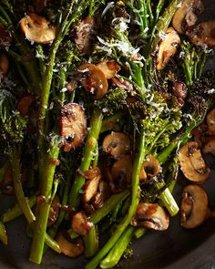 My Happy Dish:Roasted Broccolini with Winey Mushrooms from Laura Russell's book 'Brassicas'