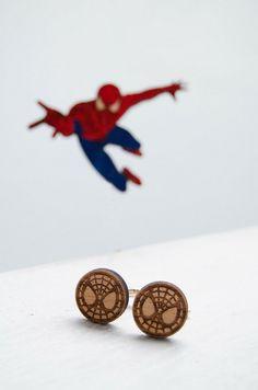 Spiderman Wooden Cufflinks Men's Accessories by MustHaveGift