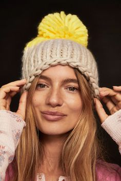 Cozy Up Color Block Pom Beanie | Free People