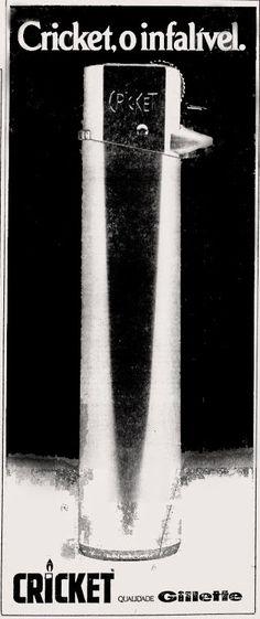 Anúncio isqueiro Cricket - Gillette -1975