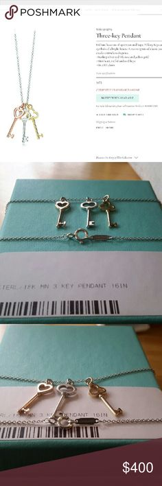 """Tiffany Three Keys Pendant Necklace Tiffany & Co. 18K ROSE GOLD  18K YELLOW GOLD  STERLING SILVER 925  16""""  Cheaper on ?ercari Tiffany & Co. Jewelry Necklaces"""