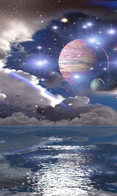 Outer Space above the Ocean.You can find Outer space and more on our website.Outer Space above the Ocean. Outer Space Wallpaper, Look Wallpaper, Planets Wallpaper, Sci Fi Wallpaper, Space Artwork, Space Drawings, Space Painting, Space Photos, Space Images