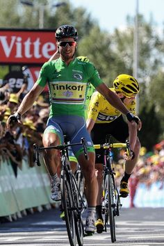 #TDF2016 Slovakia's Peter Sagan wearing the best sprinter's green jersey celebrates as he crosses the finish line ahead of Great Britain's Christopher Froome...