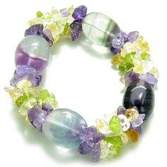 Amulet Tumbled Fluorite Crystals with Gemstone Chips Aura Protection Bracelet