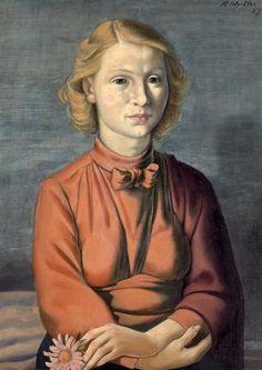 Kurt Schütze (German 1902-1971), Mädchenbildnis, oil/canvas, 1928. Collection Staatliche Kunstsammlungen Dresden, Germany.