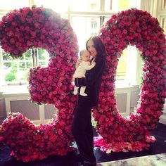 Birthday girl: Tamara Ecclestone was greeted by a huge 30 made out of deep pink flowers on. Birthday Goals, Mom Birthday, Birthday Photos, Birthday Ideas, Thirty Birthday, 30th Party, 30th Birthday Parties, Birthday Celebration, Flower Wall Rental