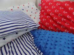 marynarski komplet, kołdra, poduszka max, poduszka mini i poszewka na poduszkę