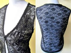 SALE! black crocheted vest (small to medium) by VintageHomage on Etsy