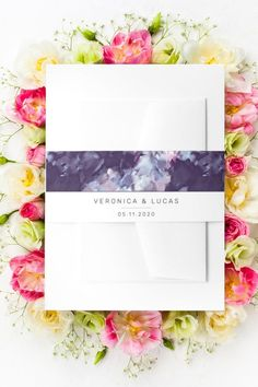 This Elegant modern Wedding Invitation Belly Band features modern brush strokes in purple with white accents combined with simple minimalistic modern layout. This Belly Band For wedding invites is part of a set of wedding stationery with the same design thet can be edited and personalized. Classy Wedding Invitations, Minimalist Wedding Invitations, Wedding Invitation Cards, Wedding Stationery, Invites, Elegant Modern Wedding, Fancy Party, Belly Bands, Christmas Card Holders