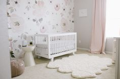Pink and Gray Nursery with Floral Watercolor Wallpaper - instant chic!