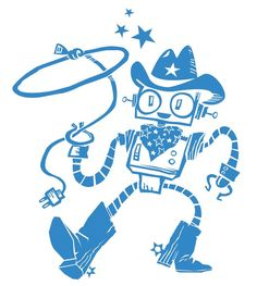 Kids Wall Decals - Retro Robot Cowboy - Vinyl Decal Nursery Wall Art - Personalized Color Choice