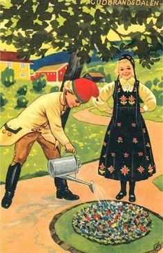 Bunadskort fra Gudbrandsdalen sign Eivind Nielsen