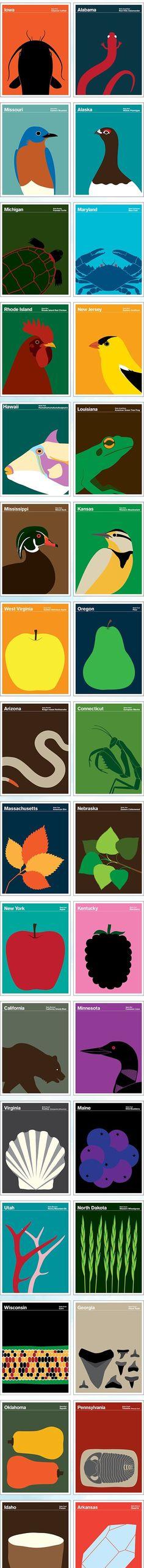 미국 도시들을 동물들에 나타내서 만든 포스터 엄청나게 방대한 도시들을 잘 나타내었다