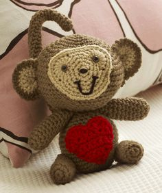 Love Monkey Free Crochet Pattern...this little guy is so cute and perfect for Valentines Day!