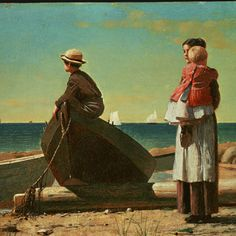 ⛵⊱Women ⚓ of salt air⊰⛵ . Winslow Homer. Waiting for Father. One of my favorites.