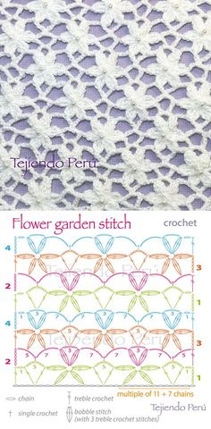 Crochet: flower garden stitch pattern. Pin shows stitch and chart. Click through to YouTube video tutorial ~ in Spanish.