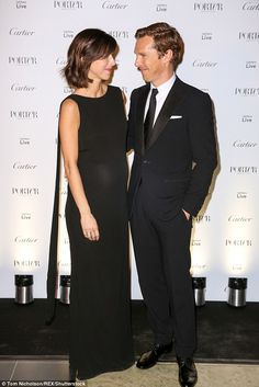 Smitten: Benedict Cumberbatch looked lovingly at his stunning wife Sophie Hunter as they attended Porter Magazine's Incredible Women Letters Live Special Performance, held at the V&A Museum in London on Tuesday night