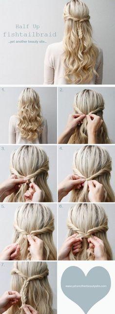 Peinado lindo medio recogido con trenza de espina de pescado y pelo suelto ondulado, paso a paso.