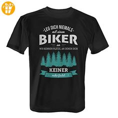 Leg dich niemals mit einem Biker an - Herren T-Shirt von Fashionalarm | Fun Shirt Spruch Spaß Plätze Geburtstag Geschenk Idee für Männer Hobby Freizeit Beruf Arbeit Lustig Motorrad Dirt Mountain Bike, Farbe:schwarz;Größe:XXL (*Partner-Link)