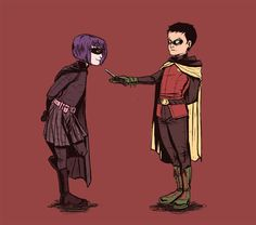 New OTP: Hit Girl and Damian!Robin. Art was done by Lebmat de Quevedo.