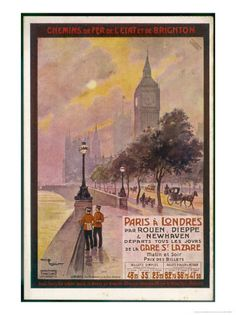 By Rail and Sea from Paris to Brighton or London Featuring the Embankment and Big Ben 6 of 8 Impressão giclée por Maurice Toussaint na AllPosters.pt