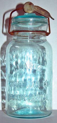 CLARK FRUIT JAR CO CLEVELAND O. aqua quart with original closure
