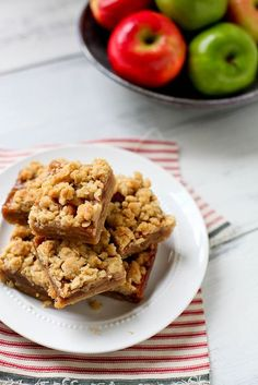 Caramel Apple Crumble Bars. These are a great fall treat that may take some extra time but its totally worth the effort. My crust didn't turn out the way I wanted but that's my own fault not the recipes. The taste is great but be sure to use parchment paper or foil because they really like to stick to the pan. I used honey crisp apples in mine while the recipe says gala but I think you can use what you like. I will be making these again!