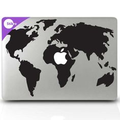 World Map decals for macbook pro home decor Macbook by stikrz, $9.98 - I want this for my mac!!!!!!!