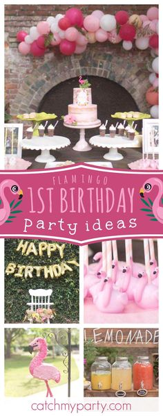 Be blown away by this gorgeous 1st Birthday Rustic Flamingle! The birthday cake is amazing!! See more party ideas and share yours at CatchMyParty.com
