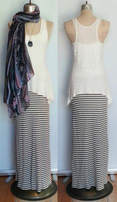Cream sheer tunic with lace back. Gray and cream textured striped long skirt. www.facebook.com/shopmudra