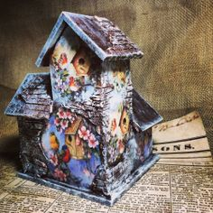 Bird house. Hand crafted. Handmade and painted. Use of decoupage.