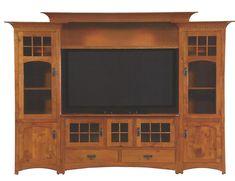 Custom Made Winchester Bridge Wall Unit Entertainment Center In Rustic Quartersawn White Oak