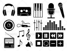 Vector Set of Music Icons and Buttons