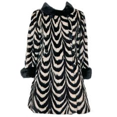 1960's Luxurious Op-Art Stripe Mink-Fur Double-Breasted Coat | From a collection of rare vintage jackets at http://www.1stdibs.com/fashion/clothing/jackets/