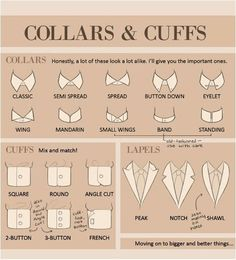 Mens suits: Types of Collars and Cuffs for grooms