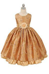 #FlowerGirlDresses - Flower Girl Dress Style 142- Gold Sleeveless Sparkle Dress