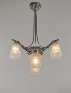 Muller freres : French art deco chandelier 1930.