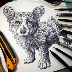 Ornate and Intricate Animal Drawings Animal Drawings, Art Drawings, Japanese Demon Mask, Corgi Drawing, Guy Drawing, Owl Head, Bizarre, Corgi Dog, Lion Sculpture