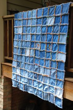 easy blue jean quilt as you go with flannel back