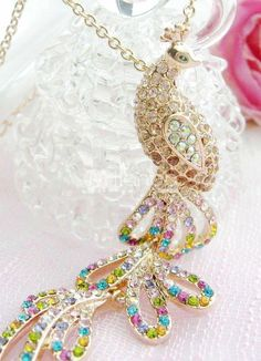 Golden 20*70mm Phoenix Alloy Crystal Womens Pendants. See More Necklaces at http://www.ourgreatshop.com/Necklaces-C883.aspx