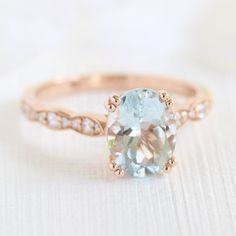 Aquamarine Solitaire Engagement Ring in Rose Gold Diamond Scalloped Band - 9x7mm