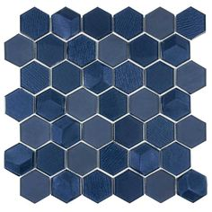 The iconic hexagon shape is the base of this blue metallic glass tile. This beveled glass mosaic brings a sparkle to any kitchen backsplash or bathroom wall! Mosaic Wall Tiles, Marble Mosaic, Mosaic Glass, Blue Mosaic Tile, Glass Tiles, Blue Glass Tile, Mosaic Mirrors, Cement Tiles, Mosaic Art