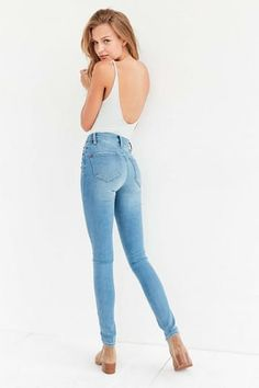BDG Twig High-Rise Skinny Jean - Light Blue from Urban Outfitters. Saved to Jeans 💙. Light Blue Skinny Jeans, Light Jeans, White High Waisted Jeans, High Waist Jeans, Fashion Model Poses, Fashion Models, Fashion Trends, White Stretch Jeans, Fashion Figures